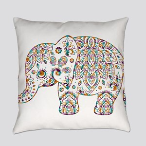Colorful paisley Cute Elephant Ill Everyday Pillow