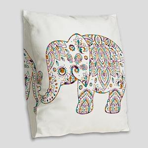 Colorful paisley Cute Elephant Burlap Throw Pillow