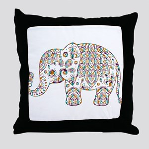 Colorful paisley Cute Elephant Illust Throw Pillow