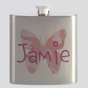 camo butterfly : name personalize, initials Flask