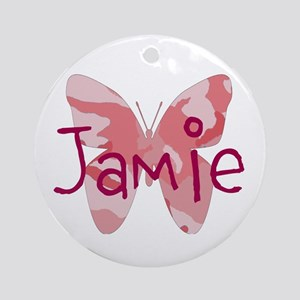 Camo Butterfly : Name Personalize, Round Ornament