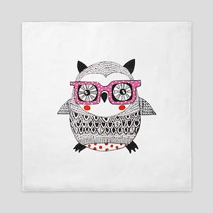 Embroider Look Owl Queen Duvet
