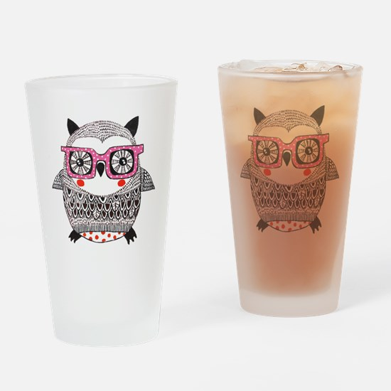 Embroider Look Owl Drinking Glass
