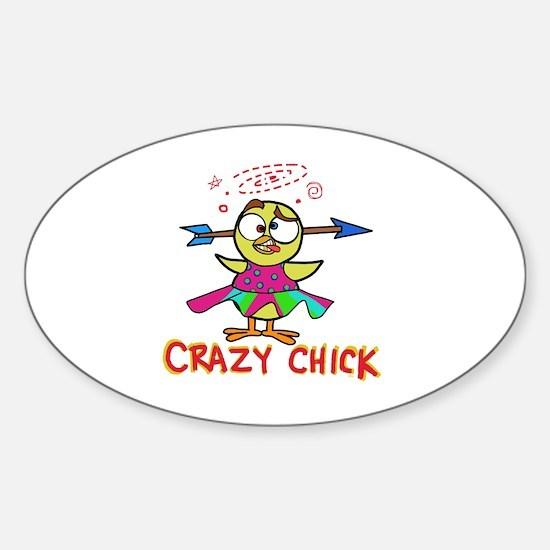 Cute Psycho chick Sticker (Oval)