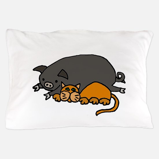 Pig and Cat Love Pillow Case