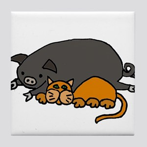Pig and Cat Love Tile Coaster