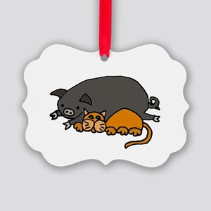 Pig and Cat Love Picture Ornament