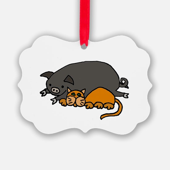 Pig and Cat Love Ornament