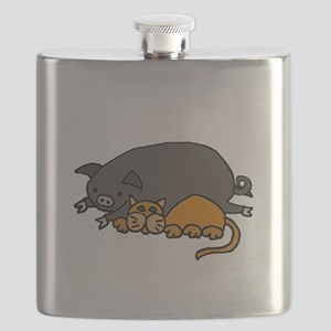 Pig and Cat Love Flask