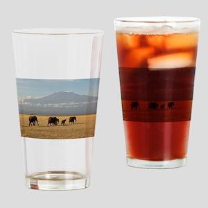 Elephants Drinking Glass