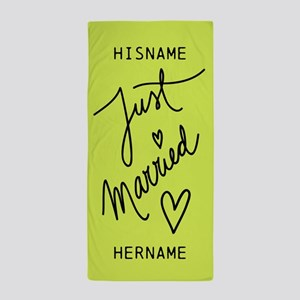 Just Married Personalized Typography N Beach Towel