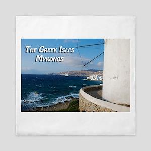 The Greek Isles - Mykonos Greece Queen Duvet