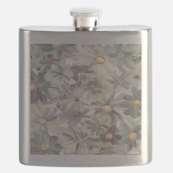 Muted Green and Gray Watercolor Flowers Flask