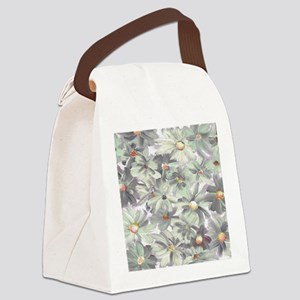 Muted Green and Gray Watercolor F Canvas Lunch Bag