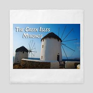Windmills on Mykonos Island Greece Queen Duvet