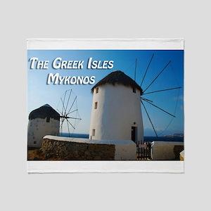 Windmills on Mykonos Island Greece Throw Blanket