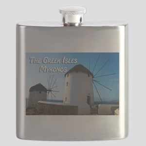 Windmills on Mykonos Island Greece Flask