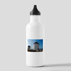 Windmills on Mykonos Island Greece Water Bottle