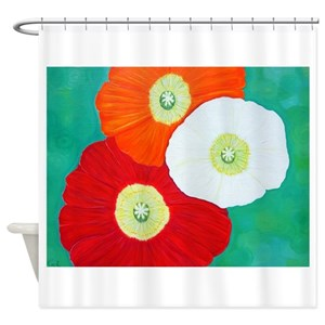 Blue Poppy Shower Curtains
