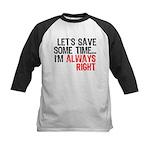 Save Time Kids Baseball Jersey