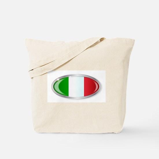 Italian Flag Oval Button Tote Bag
