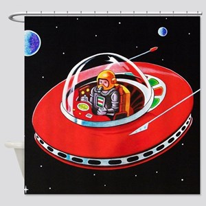 RED FLYING SAUCER Shower Curtain