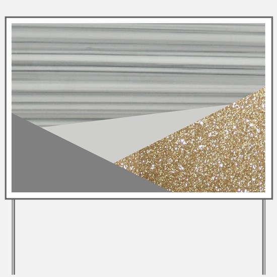 Grey Gold Glitter Marble Yard Sign