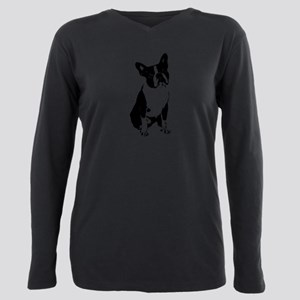 Boston Terrier Black and White 1 Plus Size Long Sl
