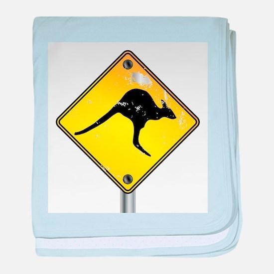 Yellow Kangaroo Sign baby blanket