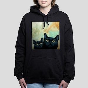 Cat 607 black Cats Women's Hooded Sweatshirt