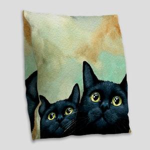 Cat 607 black Cats Burlap Throw Pillow