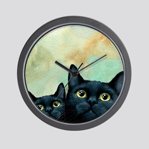 Cat 607 black Cats Wall Clock