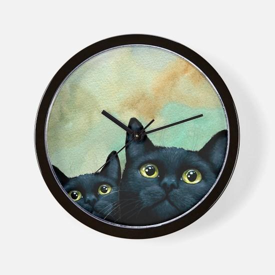 Cat 607 black Cats Wall Clock