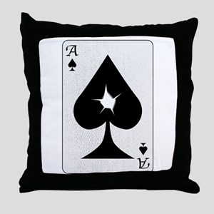 Playing Card Bullet Hole Throw Pillow
