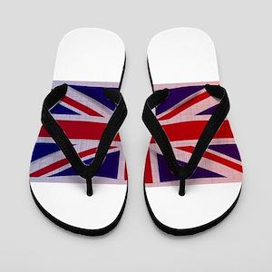 Grunge Union Jack Flag Flip Flops