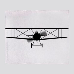 Biplane Silhouette Throw Blanket