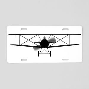 Biplane Silhouette Aluminum License Plate