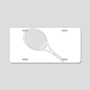 Tennis Racket Outline Aluminum License Plate