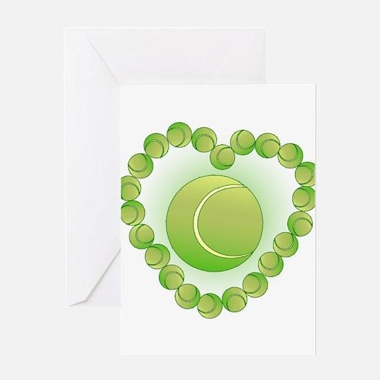 Tennis Balls Heart Greeting Cards