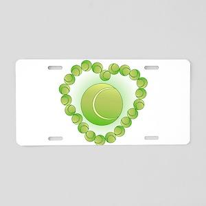 Tennis Balls Heart Aluminum License Plate