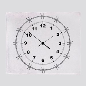 Barbed Wire Clock Throw Blanket