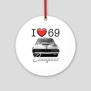 69 Cougar Round Ornament