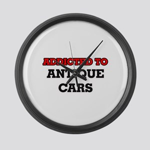 Addicted to Antique Cars Large Wall Clock