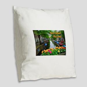 Amsterdam Holland Travel Burlap Throw Pillow