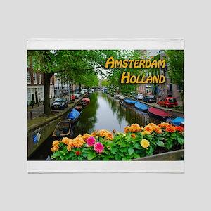 Amsterdam Holland Travel Throw Blanket