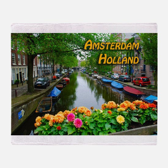 Amsterdam Holland Travel Throw Blanket