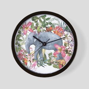 Elephant in jungle - watercolor artwork Wall Clock