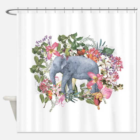 Elephant in jungle - watercolor art Shower Curtain