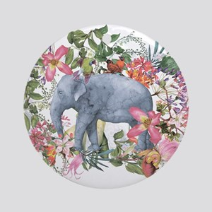Elephant in jungle - watercolor art Round Ornament