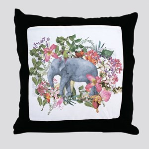 Elephant in jungle - watercolor artwo Throw Pillow